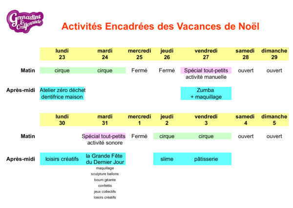 activités enfants noël Grenadine et Crayonnade